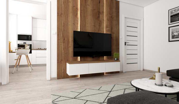 Návrh panelákovej obývacej izby s kuchyňou