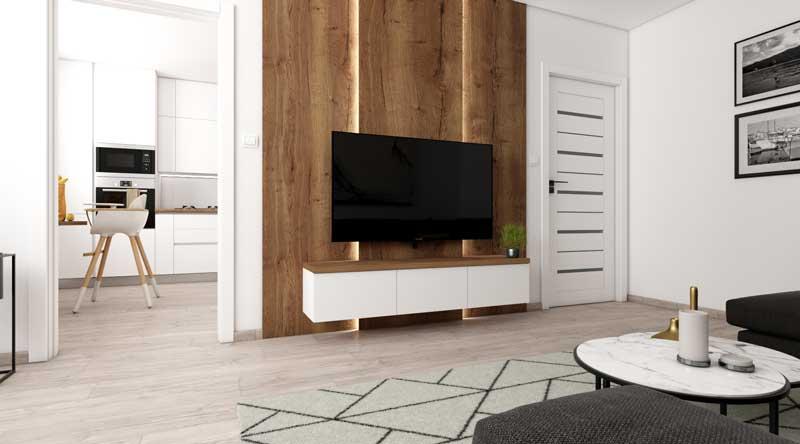 Návrh panelákovej obývacej izby s kuchyňou.